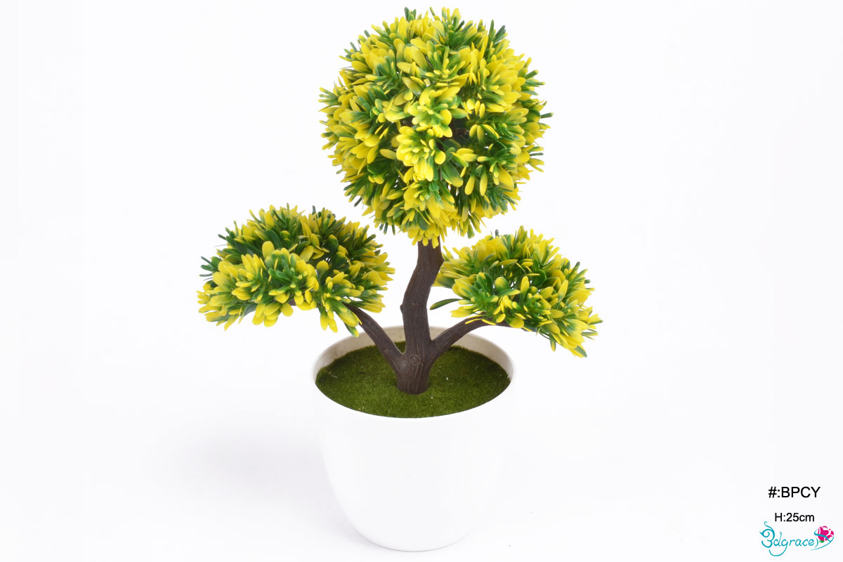 BPCY Yellow Artificial Bonsai pot Plants